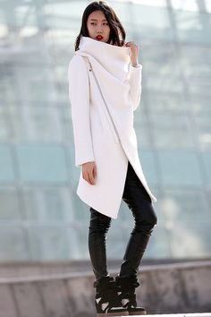High Collar Wool Jacket Winter Wool Coat for Women in by YL1dress