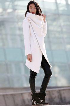 High Collar  100% Wool Jacket Winter Wool Coat for Women in white -CF052