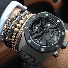 18kt Gold Black CZ Stoppers Macrame Bracelet