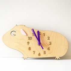 Maple Wood Guinea Pig Clock with Contrasting Purple Clock Mechanism