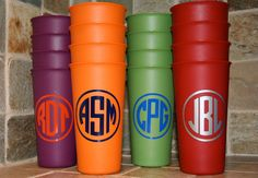 Personalized Cups - set of 4 tumblers. $11.50, via Etsy. - great gift idea