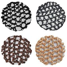 Crochet Bun Hair Net Cover With 30 Rhinestones 4 Pcs Color Pack (Blk-Gry-Bwn-Tan)  //Price: $ & FREE Shipping //     #hair #curles #style #haircare #shampoo #makeup #elixir