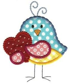 12 seriously sweet little love birds in applique for your Valentine's and spring projects. These are regular applique, but with blanket and decorative stitching used for the cover stitch to give your finished design a very dainty look. Bird Applique, Applique Patterns, Applique Designs, Embroidery Applique, Quilt Patterns, Applique Dress, Quilting Templates, Quilting Designs, Paper Piecing