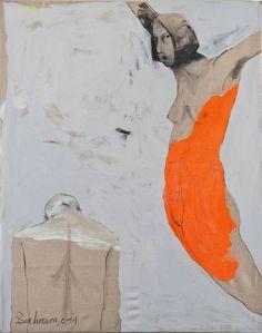 'Paar' (Pair) (2011) by Syrian-born, Germany-based painter Bahram Hajou (b.1952). Mixed media on canvas, 59.1 x 51.2 in. via Saatchi