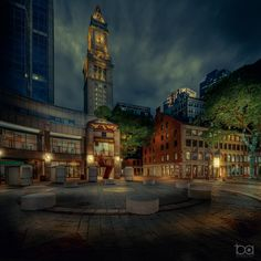 In June 2020 at a little past eight in the evening and not a soul in sight.  Something I thought I'd never see at Faneuil Hall, Quincy Market and the Custom House Tower. Quincy Market, Custom Homes, Big Ben, Past, June, Tower, Urban, Building, Photography