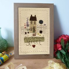 Personalised Embroidered House Sampler by Country Heart, the perfect gift for Explore more unique gifts in our curated marketplace. Embroidery Cards, Free Motion Embroidery, Hand Embroidery, Embroidery Hoops, New Home Cards, Freehand Machine Embroidery, Felt House, Fabric Cards, Shabby Chic Frames