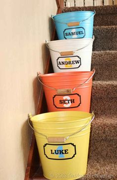 Establish buckets to help collect runaway toys.