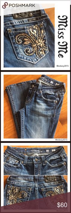 """Miss Me Jeans These bootcut Miss Me jeans are gorgeous and comfy. They've  been worn by me and are in very good condition; no holes, rips or stains.  Size: 28 Inseam: 30""""  Waist: 14""""  👛 No Trade 🌸 All Offers 🌸 Click The Offer Button 🌷 Smoke Free Home  ✔️Reasonable Offer Miss Me Jeans Boot Cut"""