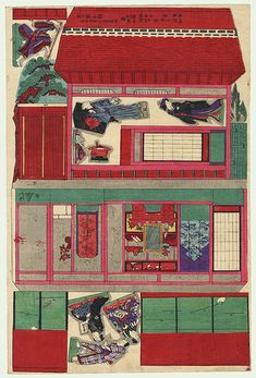 House and Figures Paper Model Print by 19th century artist (not translated)