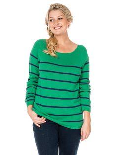 Pull à rayures style marinière, vert et bleu