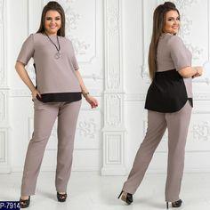 2c4633500a37 Женский брючный костюм, костюмный креп с шелком раз. Размер: 48,50,