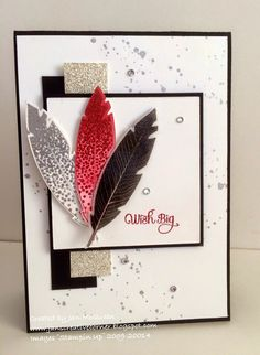 Stampin' Up! Four Feathers stamp set, Feathers Framelits dies, Gorgeous Grunge stamp set, Glimmer Paper in Dazzling Diamonds by lynette Stampin Up Anleitung, Stampin Up Karten, Karten Diy, Stampin Up Cards, Making Greeting Cards, Greeting Cards Handmade, Cute Cards, Diy Cards, Feather Cards