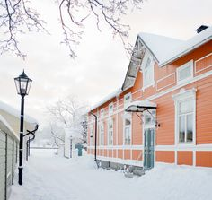 Ekenäs old town in Raseborg, Finland during winter