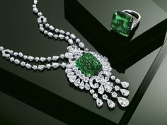 Graff emerald and diamond necklace and ring | More here: http://mylusciouslife.com/photo-galleries/bling-fling/