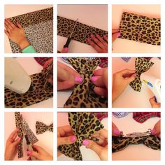 The steps in making these cute hair bows