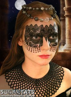 Black Carnival Mask  Temporary Makeup Tattoo for New by SugarTats, $14.99