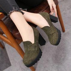 Zapatos Botas De mujer Plataforma Botas al tobillo Ante Tacón ancho Zapatos  De Gamuza 18da7e7414fc