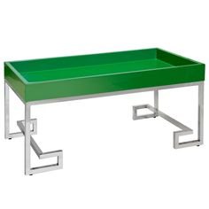 Worlds Away Conrad Greek Key Grass and Stainless Steel Tray Table