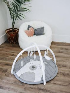 Plush Neutral Baby Play Mat, Grey Unisex Activity Mat   Bubs & Windy