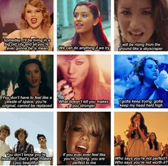 Taylor Swift, Ariana Grande, Demi Lovato, Katy Perry, Kelly Clarkson, Miley Cyrus, One Direction, P!nk, and Selena Gomez lyrics.