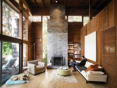 Resultado de imagem para painel de madeira parede e teto pe direito duplo