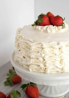 Strawberry Cake with Whipped Cream Cream Cheese Frosting