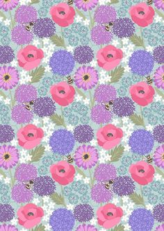 Lewis & Irene - Bee Kind - Allium & Poppies on blue, Pretty Phone Wallpaper, Flower Phone Wallpaper, Framed Wallpaper, Graphic Wallpaper, Wallpaper Backgrounds, Iphone Wallpaper, Watercolor Card, Pattern Paper, Pattern Wallpaper