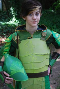 This pattern appears to be for craft foam but could easily be made from leather as well. - Pattern for Collapsable Plated Armor  Leafman by CosplayingAndMore, $14.99