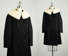 60s Vintage Black Wool Coat / White Fur Collar / Small by decades
