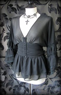 Gothic Rose Black Sheer Tiered Lace Ruffle Blouse 10 Goth Vampire Gypsy Wench | THE WILTED ROSE GARDEN on eBay // UK Based // Worldwide Shipping Available