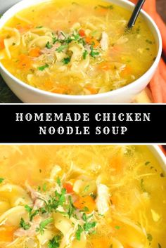 Homemade Chicken Noodle Soup Homemade chicken noodle soup is healthy and nutritious classic soup loaded with chicken and vegetables. Zuchinni Recipes, Veggie Recipes, Whole Food Recipes, Noodle Recipes, Yummy Recipes, Chicken Gloria Recipe, Chicken Teryaki Recipe, Hamburger Meat Recipes Ground, Cheese Burger Soup Recipes