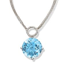 Twinkle Twinkle aquamarine drop necklace with diamond pavé circle with white gold by Jane Taylor
