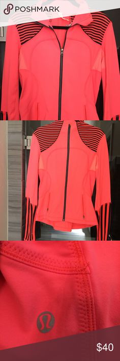 Darling Lululemon long sleeve jacket//EUC This is one of my favorite pieces by Lululemon. It is a darling long sleeve light orange and inkwell striped jacket. Nylon/Lycra/Spandex. Very flattering on // size 8 ( I do not trade - please do not ask) lululemon athletica Jackets & Coats