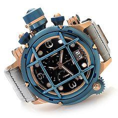 Invicta 52mm Russian Diver Nautilus Swiss Made Quartz Chronograph Leather Strap Watch