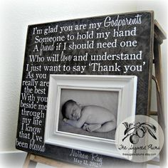GODPARENTS GIFT Personalized Custom Picture Frame 16x16 Baby Shower Dedication Baptism Christening First Birthday Gift Grandparents