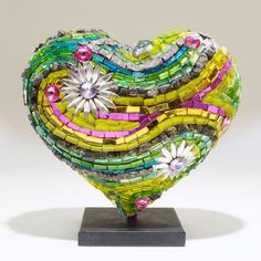 Laurel True 2014 Limited Edition Mini Mosaic Heart Sculpture - Hearts in SF