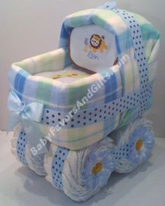 Baby Boy Carriage Diaper Cake