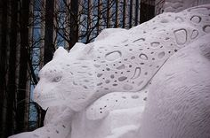 Snow sculpture at the annual Sapporo Snow Festival in Japan. Snow Sculptures, Sculpture Art, Concrete Sculpture, Metal Sculptures, Abstract Sculpture, Bronze Sculpture, Ice Art, Snow Art, Sapporo