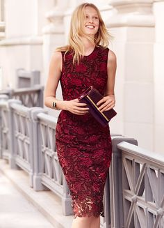 Fall-ready tones accent the beautiful floral lace of this design. This sleeveless sheath offers a close-to-the-body fit, complemented by a sultry back vent and finished by a softly scalloped hem