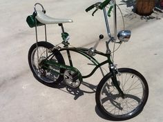 1968 Schwinn Stingray 5 Speed All Original Campus Green Muscle Bike.    I had a 1973 version of this bike with a tall sissy bar. I use to love riding on cold winter evenings doing wheeles.