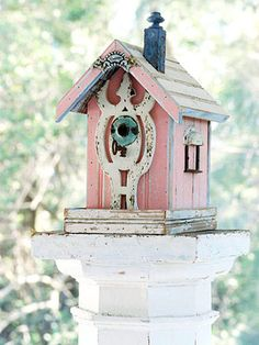 Sweetness.. Shabby pink and blue and ivory birdhouse