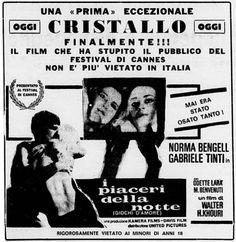 """""""I piaceri della notte"""" (Noite Vazia, 1964) di Walter Hugo Khouri, con Norma Bengell e Odete Lara. Italian release: June 17, 1967 #MoviePosters"""