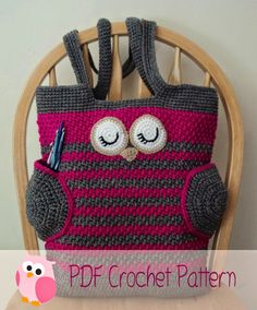 Here is my newest pattern: The Sleepy Owl Tote Bag. Crochet this sleepy owl for yourself or a friend. You can make it to use...