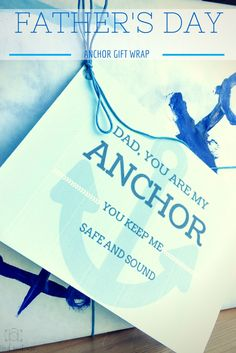 Create a special anchor themed gift for Father's Day this year with kids handmade anchor wrapping paper and a free printable card