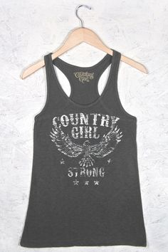 Women's Country Girls™ Strong Flowy Racerback Tank | Our Women's Flowy Racerback Tank features a stylish textured slub fabric & flowy a-line body. It's made with a soft 4.5 oz. cotton polyester blend.