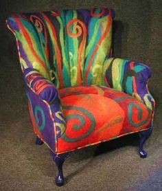 Beautiful felted wool but could paint upholstery in abstract design, colors of your choice Funky Painted Furniture, Colorful Furniture, Upcycled Furniture, Unique Furniture, Diy Furniture, Furniture Design, Painting Furniture, Furniture Stores, Furniture Chairs