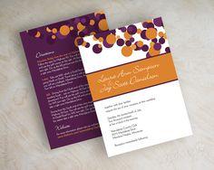 Eggplant purple and orange polka dot wedding invitations wedding invites www.appleberryink.com