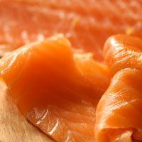 Smoked Scottish Salmon from The Artisan Smokehouse which is dry cured for up to 3 days before cold smoking over maple wood.
