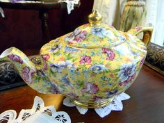 Vintage James Sadler Sophie Chintz Teapot Tea Pot 9001. $135.00, via Etsy.