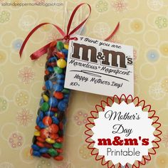 Salt and Pepper Moms: free Mother's Day M&M's printable tag